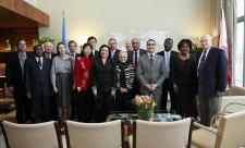 Her Excellency Haya Rashed Al Khalifa, President of the General Assembly (centre), meets the Chairman of the ACABQ, Rajat Saha, and other members of the Committee at UN Headquarters in New York